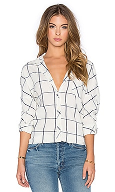 Maison Scotch Button Up Boyfriend Tee in Cream & Navy