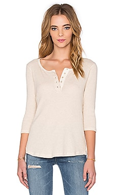 Maison Scotch Grandad 3/4 Sleeve Tee in Natural