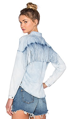 Maison Scotch Fringe Button Up in Cool Indigo