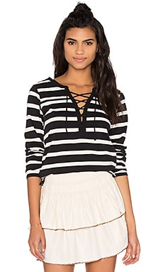 Maison Scotch Lace Up Striped Long Sleeve Tee in Black & White