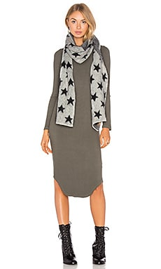 Fluffy Star Patterned Scarf in Grey