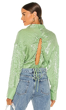 Shiny Crinkled Muslin Blouse MSGM $163