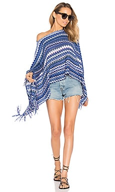 Poncho in Multi Blue