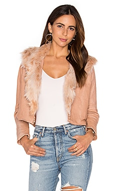 Maria Stanley Harlow Jacket with Faux Fur Collar in Blush