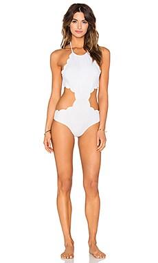 Marysia Swim Mott Cutout Swimsuit in Off White & Sunlight Yellow