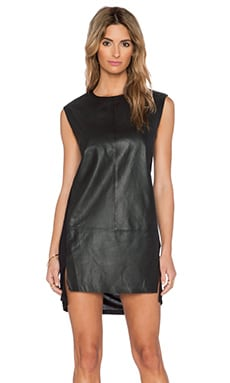 Muubaa Leather Front Dress in Black