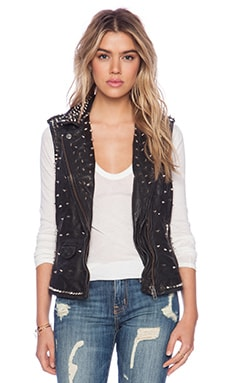 Muubaa Kate Moss Leather Studded Vest in Black