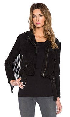 Muubaa Romana Fringed Biker Jacket in Black