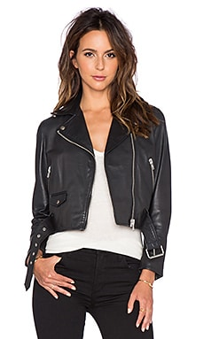 Muubaa Irwin Cropped Biker Jacket in Black