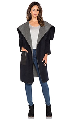 Muubaa Milat Reversible Drape Coat in Navy, Grey Marl, & Black