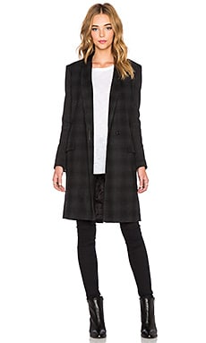 Muubaa Murphy Crombie Coat in Charcoal & Black