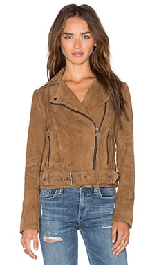 Muubaa Warren Belted Biker Jacket in Ash Brown