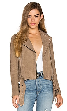 Seaton Belted Biker Jacket in Taupe