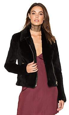 Spitfire Rabbit Fur Biker Jacket in Schwarz