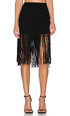 Muubaa Milo Fringed Skirt in Black