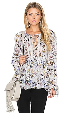 Marissa Webb Bella Print Blouse in Lila Grey