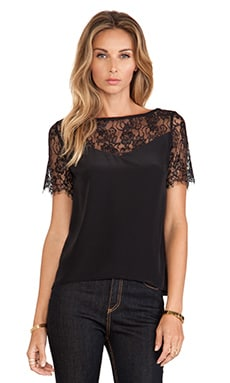 Myne Finn Lace Top in Black