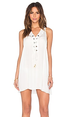 My Own Summer Isquia Lace Up Tunic With Horn Detail in White