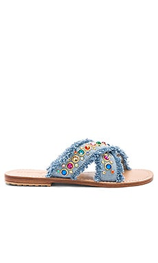 Slide Sandal en Light Denim