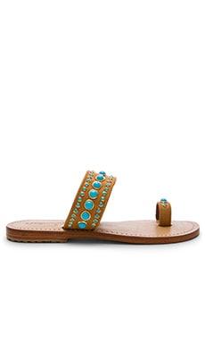 Mystique Slide Sandals in Camel & Turquoise