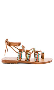 Beaded Sandals in Brown & Multi