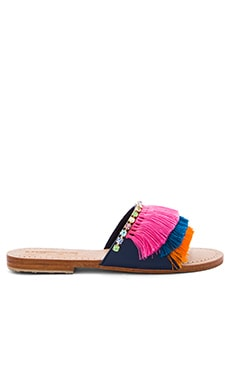 Fringe Slide Sandals in Navy