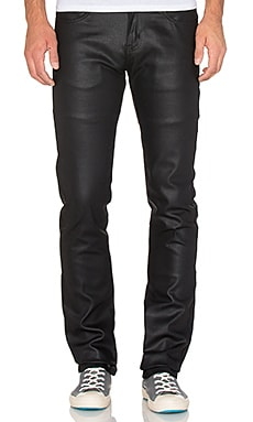 Naked & Famous Denim Skinny Guy Wax Coated Black Stretch 11 oz. in Black