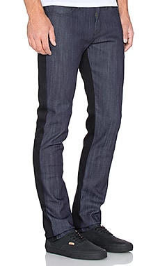Naked & Famous Denim Super Skinny Guy 12oz Colorblock Stretch in Black Blue