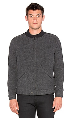 Naked & Famous Denim Zip Jacket Soft Plush Wool Blend in Charcoal