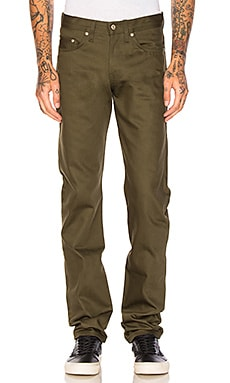 Naked & Famous Denim Weird Guy Selvedge Chino 12oz. in Khaki Green