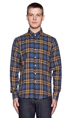 Naked & Famous Denim Regular Shirt Herringbone Shadow Twill in Blue Yellow