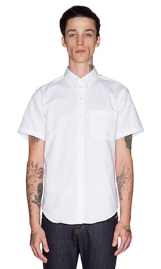 Naked & Famous Denim Slim Shirt SS Oxford in White