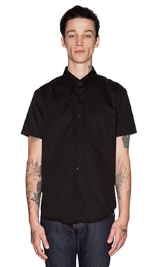 Naked & Famous Denim Slim Shirt SS Oxford in Black