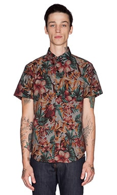 Naked & Famous Denim Regular Shirt SS Big Tropical in Indigo Base