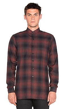 Naked & Famous Denim Long Shirt Shadow Check in Red