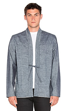 Naked & Famous Denim Kimono Shirt Chambray Selvedge in Blue