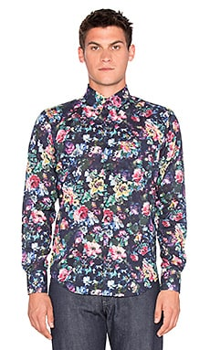 Naked & Famous Denim Regular Shirt Abstract Oil Painting Flowers in Navy Multi