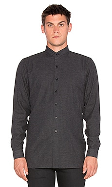 Naked & Famous Denim Long Shirt Brushed Twill in Charcoal