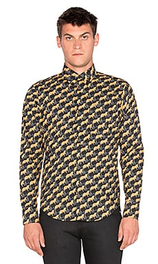 Naked & Famous Denim Regular Shirt in Cheetah Print Black