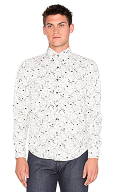 Naked & Famous Denim Regular Shirt in Animal Hand Sketch Black White