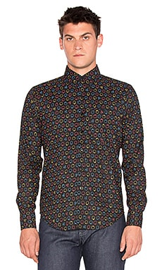 Naked & Famous Denim Regular Shirt Neon Fruit in Black Neon