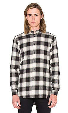 Naked & Famous Denim Long Shirt Herringbone Ombre Check in Black