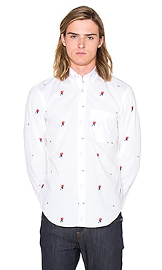 Naked & Famous Denim Regular Shirt Superhero + USA in White