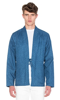 Naked & Famous Denim Kimono Shirt Faded Indigo + Print in Blue