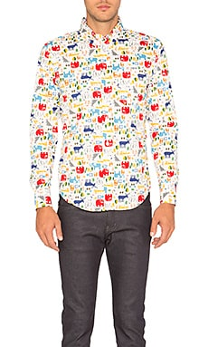 Regular Shirt Animals Block Print