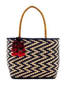 Blue Madagascar Cascade Red Pompom Tote in Multi