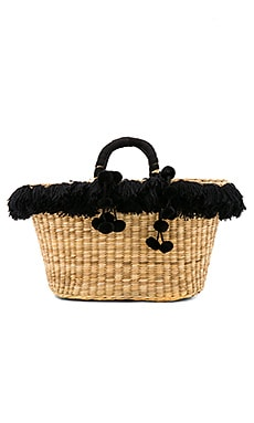 Luly Tote Black Fringe Tote in Off White