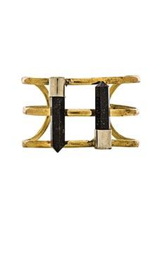 Natalie B Jewelry Mystic Crystal Cuff in Onyx & Brass