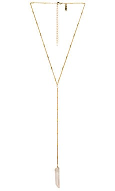 Natalie B Jewelry Energizer Lariat in Gold & Clear Quartz