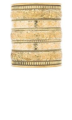 Natalie B Jewelry Azteca Bracelet in Brass & Floral